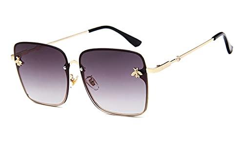 ZZDH Gafas de Sol Fashion Elegant Lady Oversize Rimless Square Sungasses Sungasses de Mujer Gafas degradados Gafas de Sol de Lujo para Mujer UV400 Regalo para Madres (Lenses Color : Gold Gray)