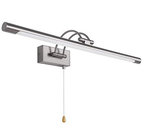 MantoLite Wandleuchte 12W,Metall Badezimmer Spiegel-Leuchte,LED-Bilderleuchte mit schwenkbarem Lampenkopf und Zugschalter,Arc Arm 840LM IP44 Warmweiß Lampe Nachttisch Leseleuchte (Nickel, 60CM)