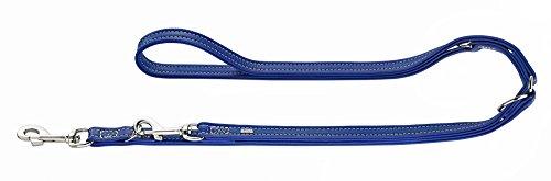 HUNTER CANNES Verstellbare Führleine für Hunde, Leder, Nappaleder, weich, edel, elegant, 1,5 x 200 cm, blau