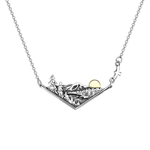 ROMANTICWORK 3D Mountain Necklace Sterling Silver Sunset Natural Scenery Landscape Peak Pendant Necklace Nature Jewelry Outdoor Enthusiast Gifts for Nature Lovers Climbers Campers
