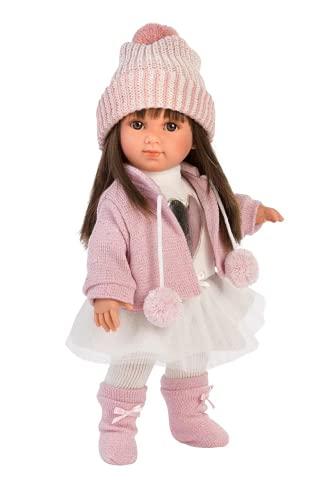 Llorens 53528 Puppe Sara mit brünetten Haaren und braunen Augen, Fashion Doll mit weichem Körper, inkl. trendigem Outfit, 35cm, Mehrfarbig
