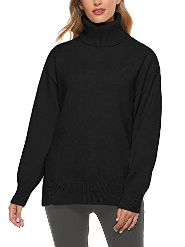 Woolen Bloom Damen Pullover Sweatshirt Rollkragenpullover Loose Tops Langarm...