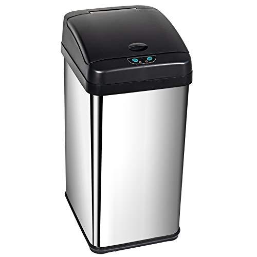 Display4top Cubo de Basura Sensor, Acero Inoxidable Cocina Cuarto de baño Desodorante Bote de Basura (38L)