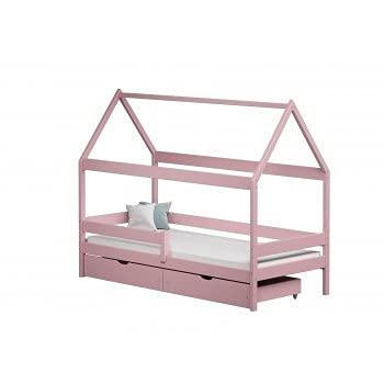 Children's Beds Home - Cama individual en forma de casa con dosel - Teddy - Cama individual - Teddy - 140x80, rosa, dos pequeños, colchón de espuma de 9 cm