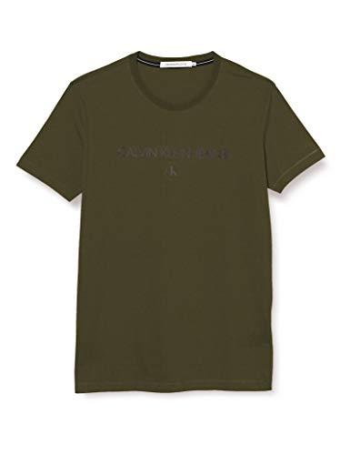 Calvin Klein Archive Logo tee Camisa, Deep Depth, L para Hombre