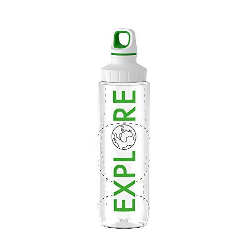 Emsa Drink2Go Tritan N30312 Trinkflasche | 0,7 Liter | Schraubverschluss | 100% dicht | auslaufsicher | spülmaschinenfest | BPA frei | umweltfreundlich | Explore | transparent/grün