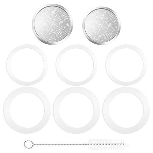 Silikon-Dichtungsring und Filter für Aluminium-Kaffeemaschinen, Moka Express für 3 Tassen und 6 Tassen (mit Reinigungsbürste), 6 Stück