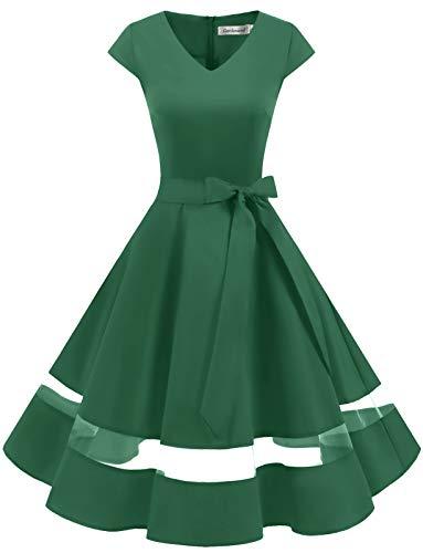 Gardenwed Annata 1950 retrò Rockabilly Polka Vestito da Audery Swing Abito da Cocktail Partito con Maniche Corte Green M