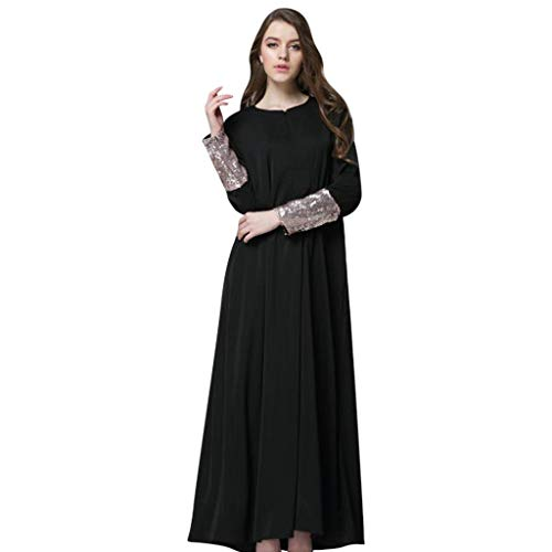 Vimoli Langes Kleid Damen Rundhals Langarm Tunika Tops Pailletten Patchwork Einfarbig Swing Elegant Lose Abendkleid Abschlusskleider