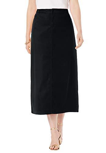 Jessica London Women's Plus Size True Fit Denim Skirt - 16 W, Black
