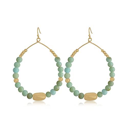 QWEQWE Pendientes de Hyperbol de Color Bead para Mujer Tendencia Gradual Acrílico Vintage Pendientes Colgantes Femenina (Metal Color : ZE50159GRN)