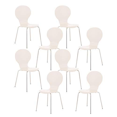 CLP Set De 8 Sillas De Comedor Apilable Diego I 8 Sillas De Conferencia con Asiento De Madera I 8 Sillas De Cocina con Base De Metal I Color:, Color:Blanco