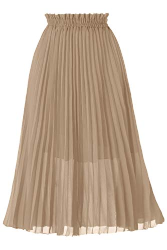 GOOBGS Women's Pleated A-Line High Waist Swing Flare Midi Skirt Champagne Small/Medium