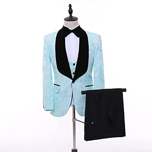 LEPSJGC ファッションメンズカジュアルウェディングスーツ3点セット/男性スリムマッチングカラーブレザージャケットパンツベスト (Color : Blue, Size : 4xl code)