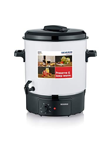 SEVERIN Machine de Conservation avec Régulation de Température en Continu, Cuiseur à Vin Chaud Anti-Rayures avec Robinet, Pot de Conservation pour jusquà 14 pots de 1 litre, Blanc/Noir, EA 3654