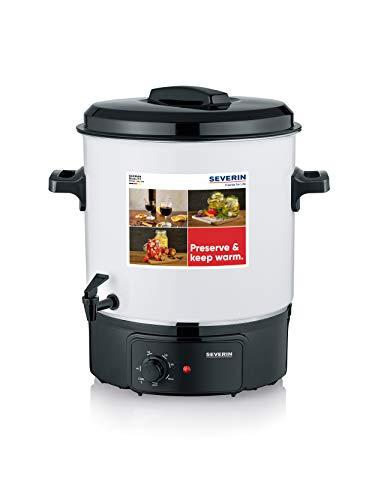 SEVERIN Cocina de vino caliente con regulador de temperatura continuo, resistente a los aranazos con grifo, olla para hasta 14 tarros de 1 litro, blanco/negro, EA 3654