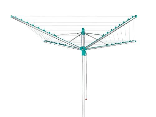 Leifheit Tendedero giratorio de jardín Linomatic 400 para tender ropa, tenderete vertical con sistema Easy Lift, tendedero exterior con 40 m de cuerda