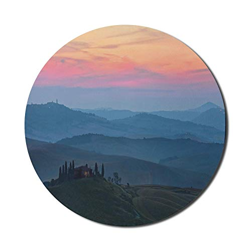 Tuscan Mouse Pad for Computers, Rural Countryside Landscape Region Mountainous High Cliff Hill Landscape Grassland, Round Non-Slip Thick Rubber Modern Gaming Mousepad, 8' Round, Multicolor