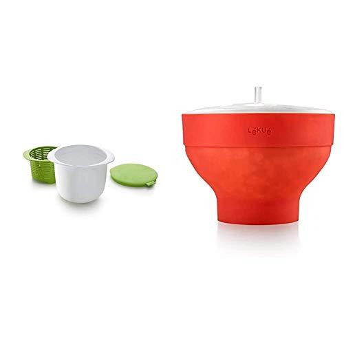 Lékué Recipiente para Hacer Queso, Verde, centimeters + Recipiente para cocinar Palomitas, Rojo, 20 cm