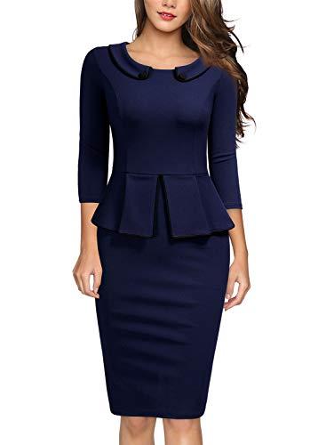 MIUSOL Damen Business Etuikleid Rundhals mit Krawatte 3/4 Arm Reißverschluss Schößchen Kleid Navy Blau M