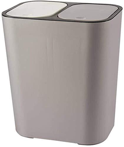 Wlnnes Doble cubierta botes de basura doble con compartimentos Papelera de reciclaje Con 2 tapas, 12.99in alta en seco y húmedo de la basura de tipo canpush cubo de basura de...
