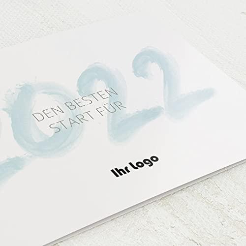 sendmoments Firmen-Weihnachtskarten im Set, personalisiert mit Ihrem Firmenlogo & -Text, Neujahrswünsche, 12 Klappkarten, wahlweise mit Veredelung in Gold, optional mit bedruckten Design-Umschlägen
