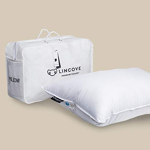Lincove White Down Luxury Sleeping Pillow - 800 Fill Power, 600 Thread Count Cotton Cover (Queen - Firm)