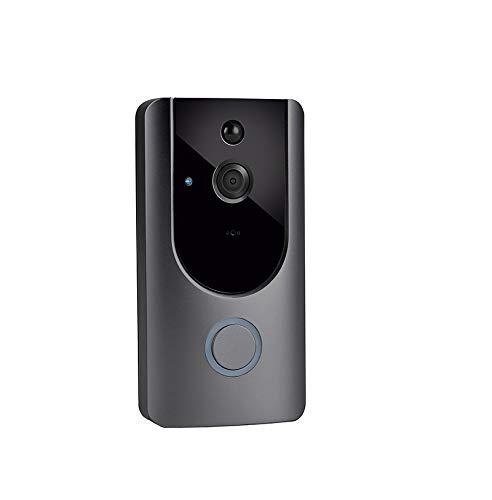QZH Timbre De Video Inalámbrico, Timbre WiFi Walkie-Talkie 720P HD, Detección De Movimiento PIR con Visión Nocturna, Control De Aplicaciones Móviles, Soporte para iOS Y Android,No