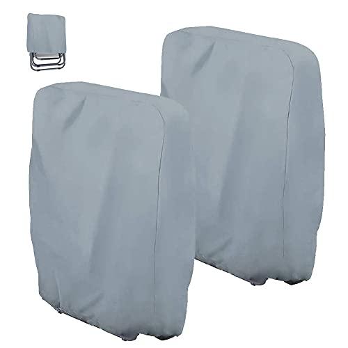 2 Stück Klappstühle Abdeckung Schutzhülle Gartenstühle Wasserdicht Winddicht Anti-UV Schwerlast 210D Oxford Gewebe Schutzhülle mit Aufbewahrungstasche, für Gartenliege Sonnenliege Relaxliegen (Grau)