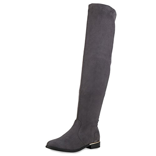 SCARPE VITA Gefütterte Damen Overknees Metallic Winter Stiefel Leder-Optik 151733 Grau Gefüttert 37