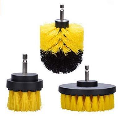 電気ドリルブラシ 電動洗車ブラシ六角軸 家庭掃除 車クリーニング用品 六角軸 3個セット(イエロー )使いやすくて、楽になる