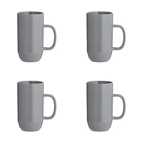 4 X Large Milano Cafe Latte Coffee Tea Tall Mug Cup Pot Stoneware Dark Grey 550ML