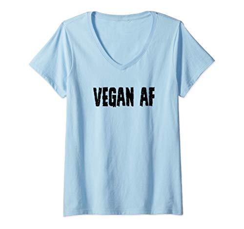 Donna Vegan Gifts for Vegans - Vegan AF Tee for Women & Men Funny Maglietta con Collo a V