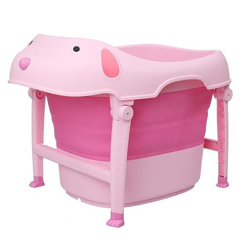 Heqianqian Bañera plegable plegable para niños y bebés, cubeta de agua con silla para niños pequeños, cuenca infantil, plegable, antideslizante, portátil (tamaño: 74 x 54 cm; color: #4)