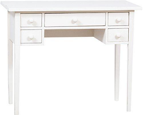 Table d'appoint en bois massif de tilleul finition blanche vieillie 100 x 48 x 80 cm