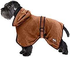 Bella & Balu Albornoz para Perro S de Microfibra Absorbente – Toalla para Perros para Secado Tras el baño o el Paseo bajo la Lluvia (6 Tallas - 3 Colores)