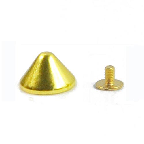 Angelakerry 50pcs Gold Rivet Cone Spikes Spots Screw Studs Punk Leather Rock Back Craft DIY Bullet