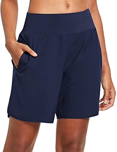 BALEAF Damen Kurze Sporthose mit Taschen für Laufen Jogging und Training Marine XL