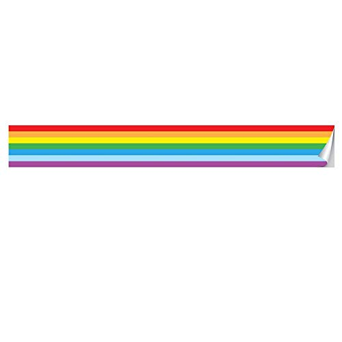 Cenefa de pared para pegar y despegar, fácil de aplicar, decoración de arco iris, decoración para aulas de arco iris, papel para anuncios – Arco iris – 3.9 pulgadas × 118...