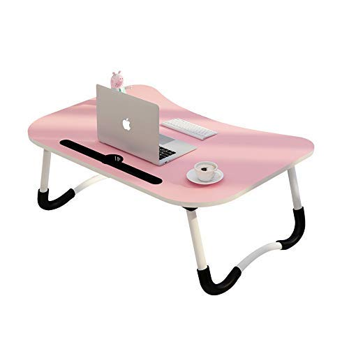MemeHo® Smart Multi-Purpose Laptop Table with Dock Stand/Study Table/Bed Table/Foldable and Portable/Ergonomic & Rounded Edges/Non-Slip Legs/Engineered Wood (Pink)