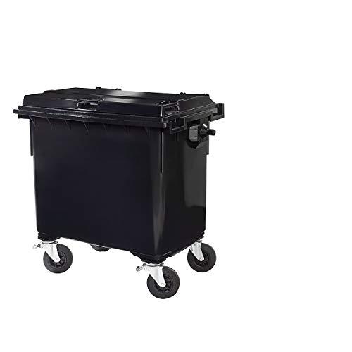SSI Schäfer Kunststoff-Großmüllbehälter, nach DIN EN 840 - Volumen 660 l - anthrazit - Abfalltonne Müllcontainer Müllkübel Müllsammler Mülltonne