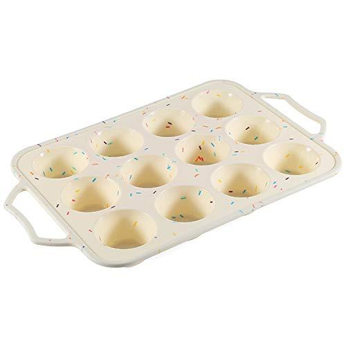 Bwelcam Muffinform aus Silikon für 12 Muffins mit Edelstahlrahmen, Antihaft Muffinbackblech, Muffinblech Silikonform Muffin Backform für Cupcakes, Pudding, Kuchen, Brownies