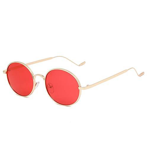 Gafas de sol pequeñas ovaladas para mujer, clásicas, de metal, estilo vintage, color negro