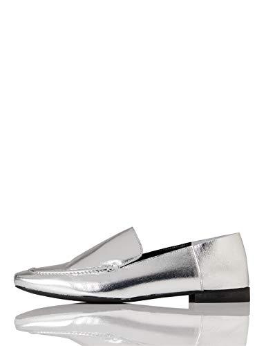 find. Slipper Damen aus Leder mit flachem Blockabsatz, Silber (Silver), 38 EU
