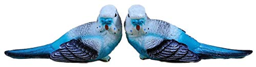 N / A 2er Set Wellensittich blau je 7 x 15 cm Vogel Sittich Garten Tier Figur Deko 9432 B