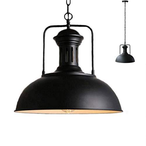 Vintage colgante granero Metal Industrial luz lámpara sombra antiguo recipiente en forma de hierro forjado ajustables cadenas techo luz araña (Negro, 33CM)