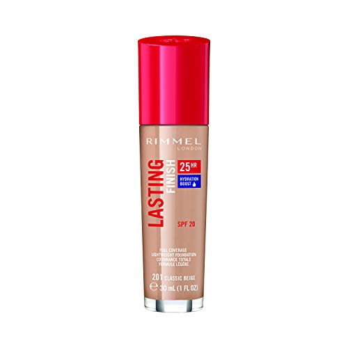 Rimmel London Lasting Finish 25-Hour Liquid Foundation, Sweat Proof and Full Coverage Formula with SPF 20 Formula, Classic Beige, 30 ml