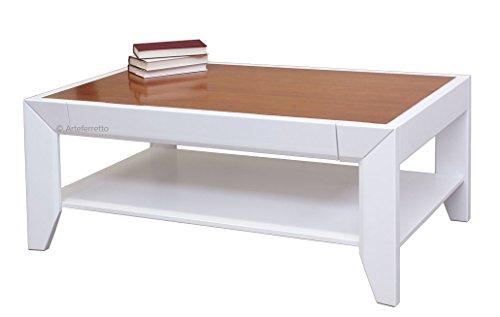 Rechteckiger Couchtisch 2 Farben mit Schublade, Couchtisch italienisches Design Holzstruktur Made in Italy, niedriger kleiner Tisch NEU Wohnzimmer Esszimmer flur Büro Schlafzimmer