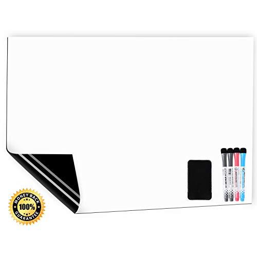 CUHIOY Whiteboard Magnetisches Kühlschrank Magnettafel A3+ für Familie Küche Einkaufsliste,Menü Memo Erinnerung Notiz Planer,Kinder Graffiti abwischbar Flexible Magnet White Board,4 Markers 1Radierer