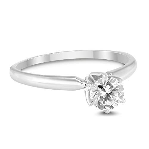 3/8 Carat Round Diamond Solitaire Ring in 14K White Gold (0.375 Ct Diamond)